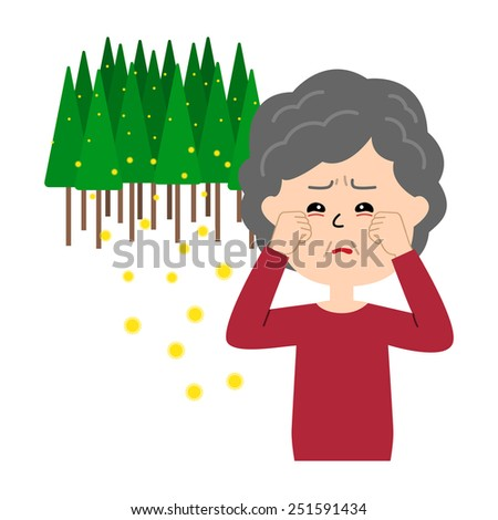 An elderly woman with itchy eyes, allergy caused by cedar pollen, vector illustration - stock vector