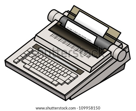 An electric/electronic typewriter loaded with paper and the beginning of a novel. - stock vector