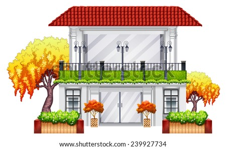 An elegant building on a white background - stock vector