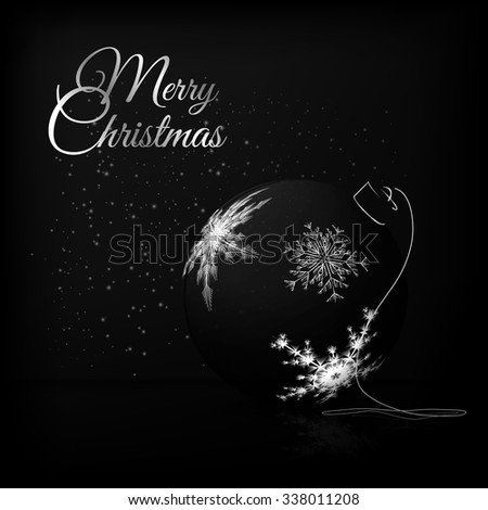 An elegant composition with Christmas ball in fashionable black and white colors. The illustration is perfect for greeting cards, Christmas promotions, gift leaflet etc. - stock vector