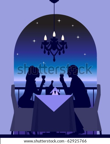 An elegant couple enjoying a romantic dinner date - stock vector