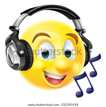 An emoticon emoji wearing headphones and listening to music or singing along.  With musical notes - stock vector