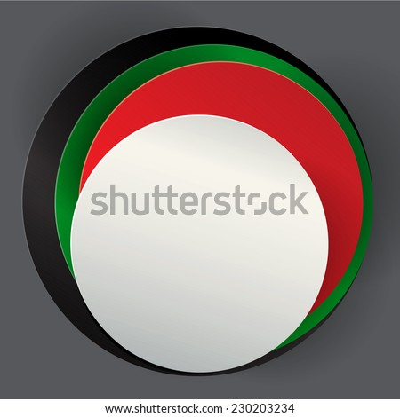 An empty badge made with UAE national flag colors. A vector illustration. - stock vector