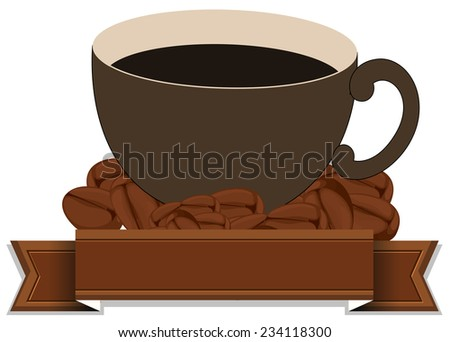 An empty brown template with a cup of coffee on a white background  - stock vector