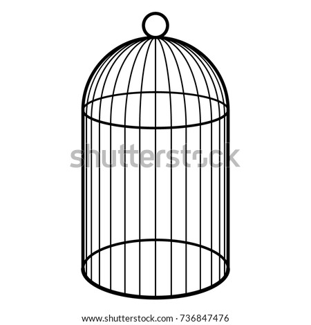 Open Birdcage Silhouette Empty Cage Bird Black ...