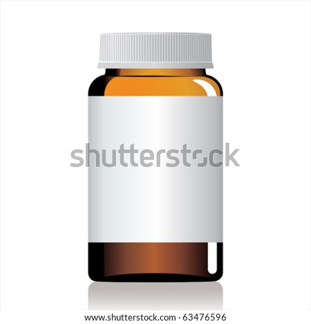 An empty glass bottle of pills.
