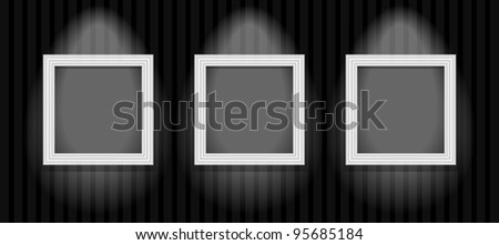 an empty picture frame hanging on the wall. File is saved in AI10 EPS version. This illustration contains a transparency - stock vector