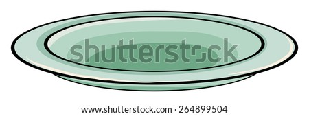 An empty plate on a white background - stock vector