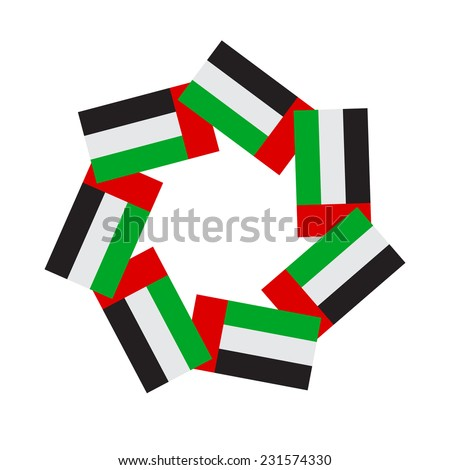 An empty seal graphic using UAE flag icons. A graphic unit in vector - stock vector