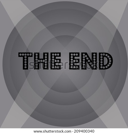 an end monochrome screen with some text - stock vector
