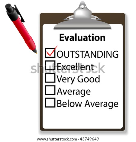 An evaluation for job performance red check mark in the OUTSTANDING box with clipboard and ink pen. - stock vector