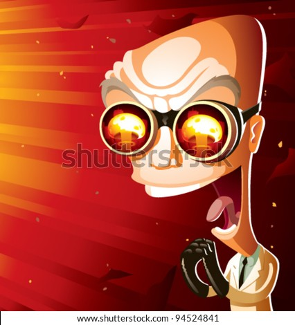 An evil scientist laughing maniacally, bathed in the glow of a giant nuclear mushroom cloud. Scientist is an older, bald, caucasian man—60s-style mad scientist caricature. CMYK vector image.