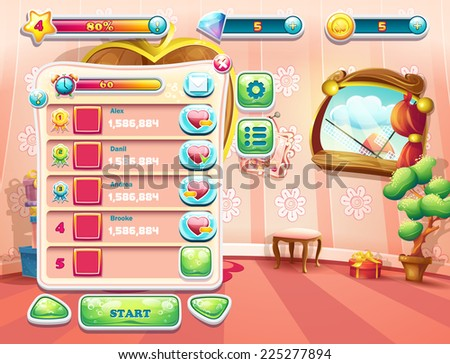 An example of one of the screens of the computer game with a loading background bedroom princess, user interface and various element. Set 1. - stock vector