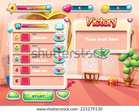 An example of one of the screens of the computer game with a loading background bedroom princess, user interface and various element. Set 3 - stock vector