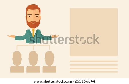An executive good looking and happy  Caucasian with beard explaining and presenting a business marketing plans to his employees infront of him inside the training room. Planning a business concept.  - stock vector