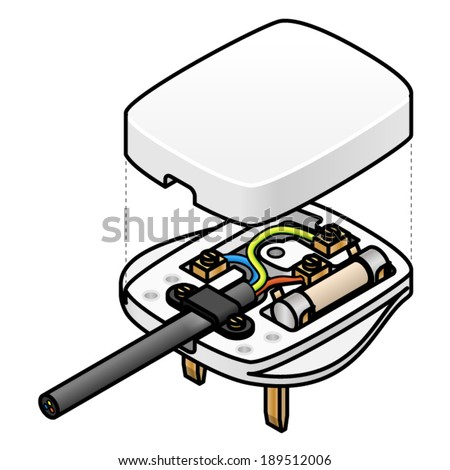 exploded diagram uk mains ac plug stock vector 189512006 on uk plug wiring diagram