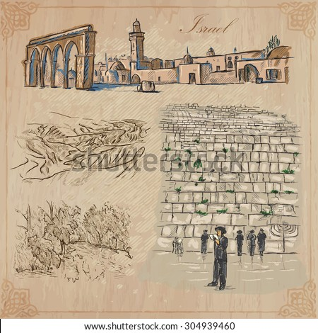 An hand drawn collection, Travel - ISRAEL. Description, Vector freehand sketches. Editable in layers and groups. Background is isolated. (Things, buildings, etc. are named inside the file.
