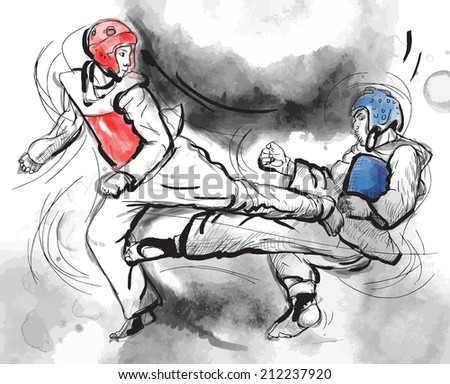 An hand drawn converted vector (in calligraphic and grunge) style from series Martial Arts: TAEKWON-DO (is a Korean martial art. It combines combat and self-defense techniques with sport and exercise) - stock vector