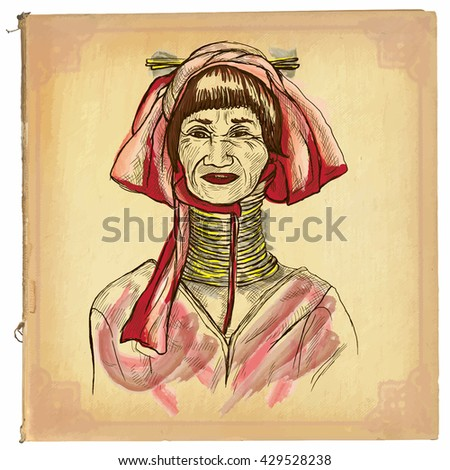 An hand drawn retro vector illustration, colored line art. THAILAND WOMAN. Freehand sketch of long neck thailand middle aged woman.Hand drawings are editable.Background is isolated.Vintage processing. - stock vector
