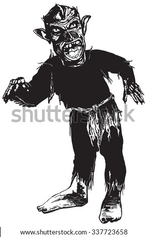 An hand drawn vector illustration - Black screaming ZOMBIE. Vector freehand illustration in comic style.