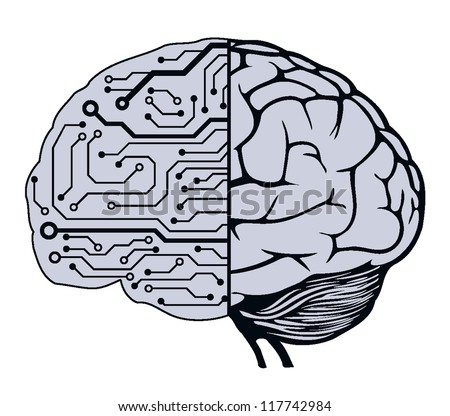 an human brain as a central processing unit. vector digital illustration - stock vector
