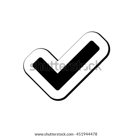 An Icon Illustration Isolated on a Background - Tick - stock vector