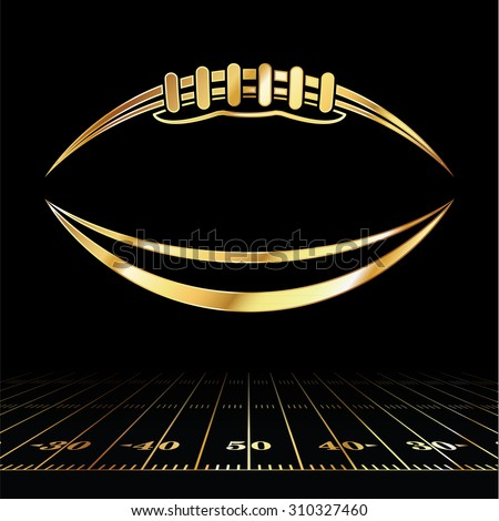 An icon of a gold colored American football over a football field illustration. Vector EPS 10. Room for copy. - stock vector