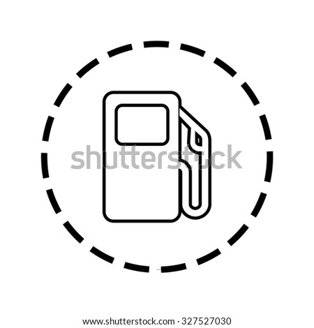 An Icon Outline within a dotted circle - Petrol Pump