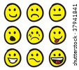 An icon set of cartoon smiley faces in a variety of expressions. - stock vector