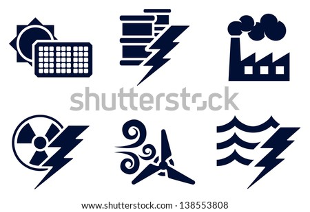 An icon set with six icons representing power and energy generation types. Solar, fossil fuel, nuclear, wind, hydro or water plus oil - stock vector