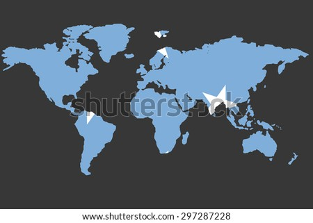 An Illustrated Map of the world with the flag of Micronesia - stock vector