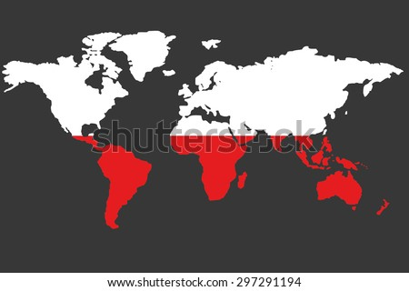 An Illustrated Map of the world with the flag of Poland - stock vector