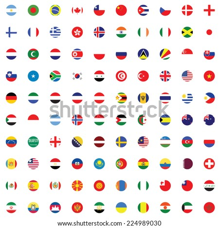 An Illustrated Set of World Flags - Round - stock vector
