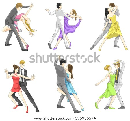 An illustration cartoon characters set of dancing couple sport for both man and woman in various action and dancer fashion clothing, create by vector   - stock vector
