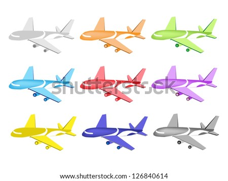 An Illustration Collection of Colorful Airplane Icon in Twelve Assorted Colors - stock vector