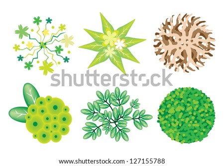 An Illustration Collection of Landscaping Treetop Symbols or Isometric Trees and Plants, Variety of Plants, Evergreens and Trees for Garden Decoration - stock vector