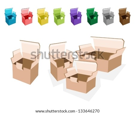 An Illustration Collection of Open and Empty Cardboard Boxes in Nine Assorted Colors, Ready for Shipment - stock vector