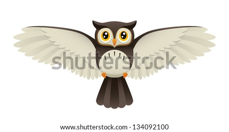An Illustration depicting a cute owl flying. Eps 8 Vector. - stock vector