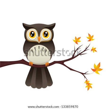 An Illustration depicting a cute owl sitting on a branch. Eps 8 Vector. - stock vector
