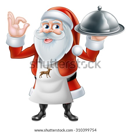 An illustration if a happy Cartoon Santa Claus chef or cook character in an apron holding a plate of food - stock vector