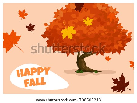 An Illustration In Cartoon Style With A Tree And Falling Colorful Autumn  Leaves And A Quote