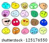 An Illustration Multi Colors of Different Facial Emotions Icon Set Isolated on A White Background - stock vector