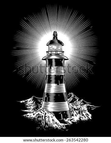 An illustration of a black and white monochrome lighthouse - stock vector