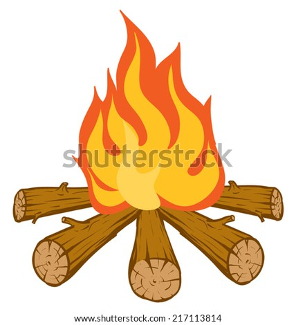 An Illustration of a Blazing orange and red campfire - stock vector
