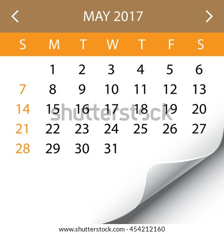 An Illustration of a 2017 Calendar - May - stock vector