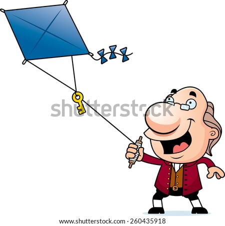 An illustration of a cartoon Ben Franklin flying a kite with a key.