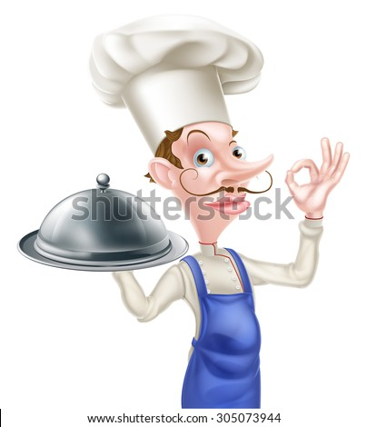 An illustration of a cartoon chef doing a perfect or okay sign and holding a siver platter dome - stock vector