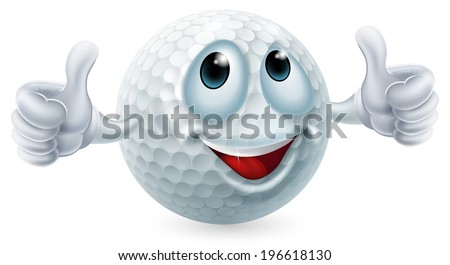 An illustration of a cartoon golf ball character doing a thumbs up
