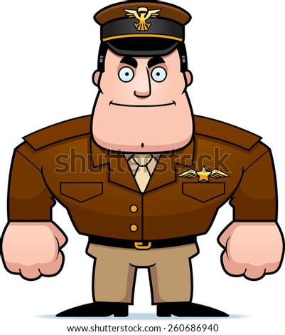 An illustration of a cartoon military captain standing at attention. - stock vector