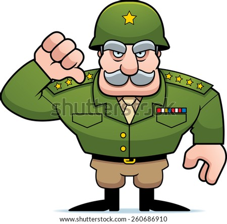 An illustration of a cartoon military general giving a thumbs down sign. - stock vector